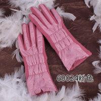 韩版兔毛球显瘦羊毛手套 女士羊绒保暖羽绒布加厚款