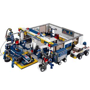 【当当自营】小鲁班F1方程式赛车系列儿童益智拼装积木玩具 F1蓝光赛车-赛道维修站M38-B0356