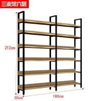钢木书架简易铁艺货架落地多层置物架客厅收纳架子展示架书柜定做