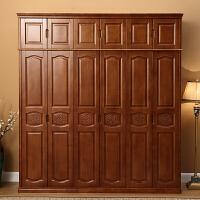 实木衣柜现代简约中式整体3门4门5门6门衣柜卧室经济型整体衣柜 6门 组装
