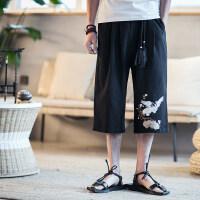 夏季中国风裤子男休闲裤亚麻裤七分裤沙滩裤宽松直筒男士短裤刺绣