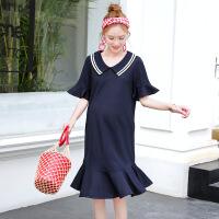 时尚孕妇装夏季新品翻领鱼尾裙中长款孕妇裙潮妈连衣裙子B-8052