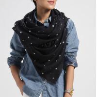 润帛 春秋冬季星星羊毛围巾女 韩版时尚蓝色披肩两用2015星星羊毛围巾女