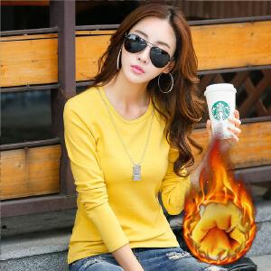 韩版纯色套头T恤打底衫秋冬款长袖圆领加绒打底衫T恤