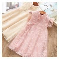 童装裙子中国风夏蕾丝旗袍裙女童网纱刺绣旗袍儿童公主唐装连衣裙
