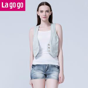 lagogo拉谷谷夏季新款百搭口袋修身短款牛仔上衣