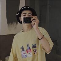 夏季新款青少年休闲韩版潮流卡通仙人掌盆栽印花细条纹T恤男短袖