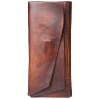 原创手工磁性搭扣真皮长款钱包 头层全牛皮多功能手包 做旧擦色潮 渐变棕