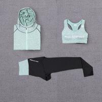 【速干衣裤 速干服】2018新款瑜伽健身服跑步秋冬套装女连帽外套速干三件套轻便透气速干服