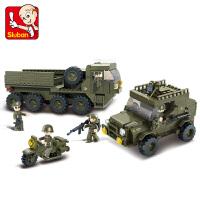 【满200减100】小鲁班陆军部队2军事系列儿童益智拼装积木玩具 后勤部队M38-B0307