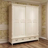 美式家具主卧二门衣柜卧室推门衣柜实木复古滑门移门推拉门衣柜 象牙白衣柜 单门 组装