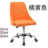 北欧现代简约家用电脑椅布实木咖啡椅学生宿舍办公椅升降学生转椅 钢制脚 无扶手