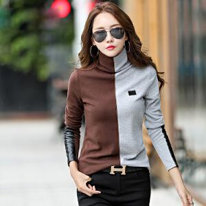 春秋装新款女装上衣小衫韩版修身拼接显瘦打底衫棉t恤女长袖