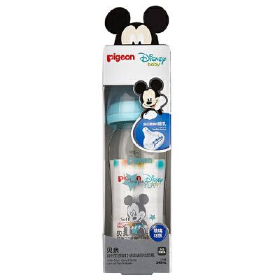 贝亲(Pigeon)Disney自然实感宽口径玻璃彩绘奶瓶240ml 配M奶嘴(米奇宝宝-小鸭) 全场特惠