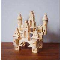 原木色积木玩具3-6周岁女孩宝宝1-2婴幼儿童原木色木头益智早教