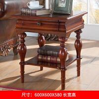美式实木沙发边几欧式角几床头柜小桌子客厅置物架边桌茶几小方桌 艾菲尔色大 600*600*580