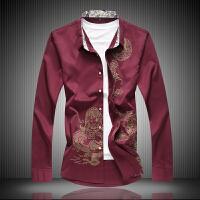 中国风男装烫金龙纹图案印花秋季休闲衬衫加肥大码长袖衬衣服寸衫