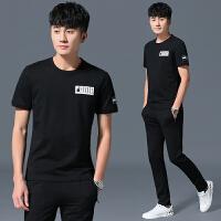 短袖T恤男夏装361运动套装青年中年帅气休闲运动服两件套夏季大码 黑色 品质