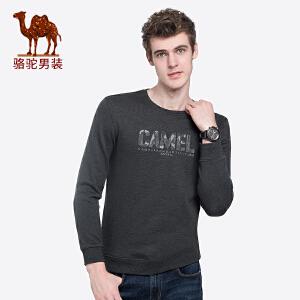 骆驼男装 秋冬新款青年时尚圆领长袖上衣服纯色字母绣花T恤男
