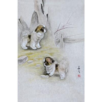 米春茂 当代著名工笔画家 尤擅猫狗动物 《犬戏图》