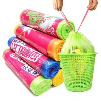 5卷装45*55CM自动收口垃圾袋加厚手提式家用抽绳穿绳厨房塑料袋绿色