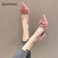 达芙妮欧美风高跟鞋女2021新款糖果色漆皮尖头浅口链条单鞋气质