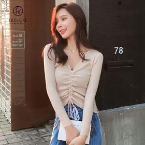 欧若珂 2018韩版V领抽绳毛衣打底衫女长袖套头针织打底衫