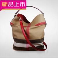 新款女包帆布包格子水桶包休闲女士手提包时尚百搭单肩斜挎女包潮