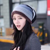 帽子女韩版潮保暖套头帽格纹包头帽加绒加厚保暖月子帽孕妇帽