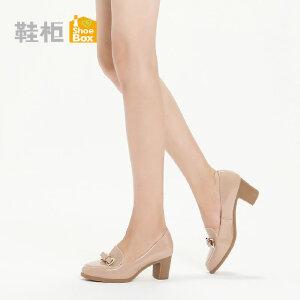 SHOEBOX鞋柜 秋季新款浅口高跟女鞋通勤蝴蝶结方跟套脚单鞋