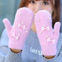 时尚加厚开车针织学生手套毛线手套女可爱保暖蝴蝶结