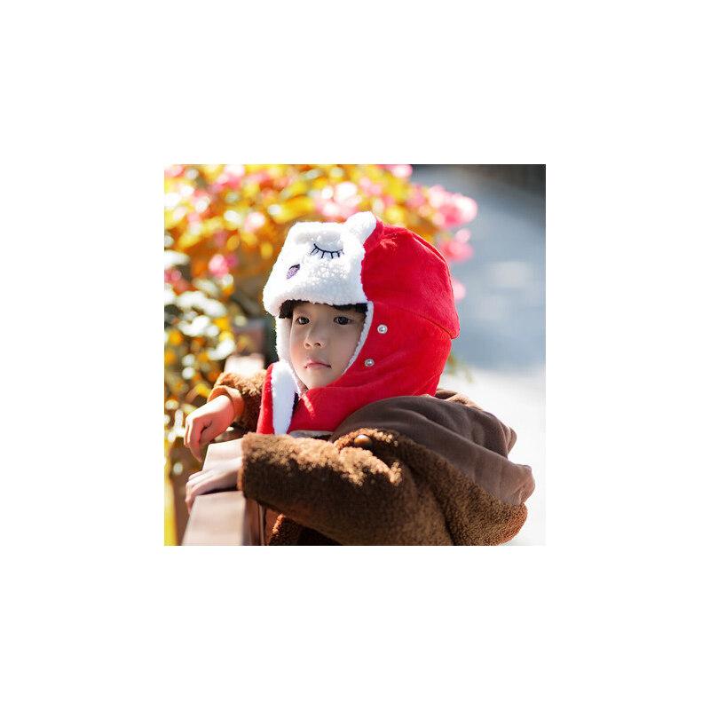 儿童帽子男潮女童男童护耳可爱挡风女儿童一体帽宝宝雷锋帽