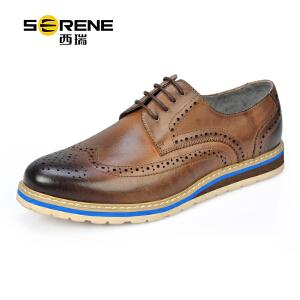 西瑞英伦休闲鞋男鞋韩版商务正装皮鞋复古布洛克鞋巴洛克单鞋男结婚鞋8150