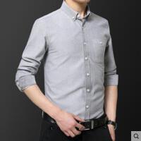 休闲衬衫男长袖中年爸爸装寸衣简约纯色有口袋老年人商务男式衬衣户外新品网红同款