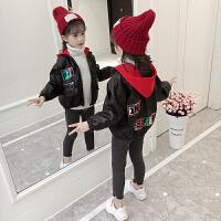 童装女童秋冬外套韩版时尚中大儿童加绒夹克洋气上衣