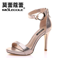 莫蕾蔻蕾时尚水钻丁字扣高跟鞋女细跟露趾凉鞋新款百搭时装性感鱼嘴女鞋 71235