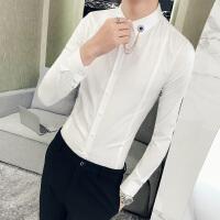 2018春季新款英伦男士长袖衬衫韩版修身发型师夜店潮男休闲白衬衣