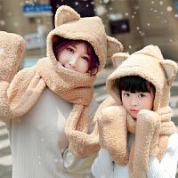 围巾女韩版冬季女学生秋冬日系围脖百搭新款加厚脖套女士帽子一体
