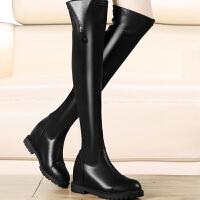 内增高女鞋冬季新款过膝靴长靴显瘦性感高筒瘦腿弹力靴子平底