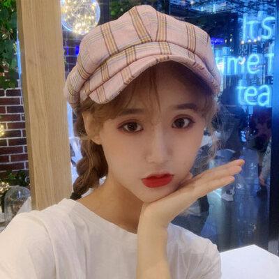 鸭舌帽女士户外运动韩版格子八角帽复古贝雷帽百搭出游遮阳帽子
