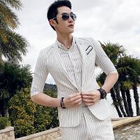 男士七分袖小西装韩版潮流修身帅气休闲条纹中袖西服外套