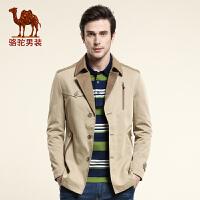 骆驼CAMEL 男装 款风衣 男士商务休闲风衣 中长款单排扣风衣外套