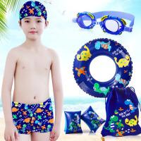 �和�游泳衣男孩平角泳�泳帽泳�R套�b中大童