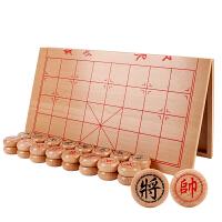 实木象棋套装木质传统玩具逻辑思维中国象棋便携折叠棋盘