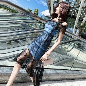 班图诗尼 2018韩语琳一字肩裙子夏季女装新款性感牛仔蕾丝拼接中长款连衣裙