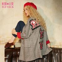 妖精的口袋格纹野史秋装新款宽松字母格子中长款西装外套女