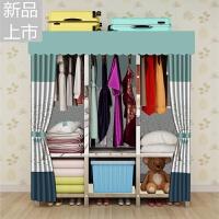 简易布衣柜钢管加固螺丝组装不锈钢收纳柜子双人挂衣柜全钢架衣橱定制