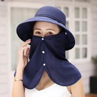 遮阳帽女夏天骑车护颈遮脸防晒折叠透气户外空顶太阳帽子