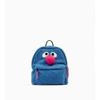 秋冬新款韩版个性创意可爱双肩包卡通毛绒书包可可超人背包 蓝色