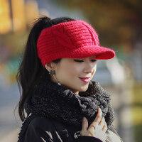 帽子女韩版潮百搭休闲潮流韩国无顶针织鸭舌帽毛线空顶帽